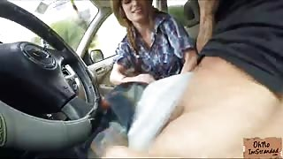 Dillion Carter flashes her tits while hitch hiking and she gets titfucked