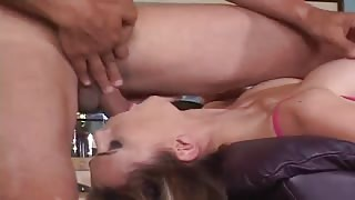Brunette chick jams rod in mouth & butthole