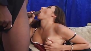 Busty Brunette Mom Pounds Thick Dark Cock