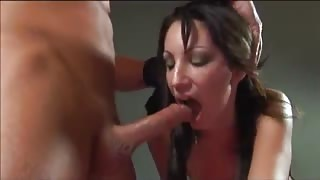 Naughty Brunette Babe Sucks Hard Cock