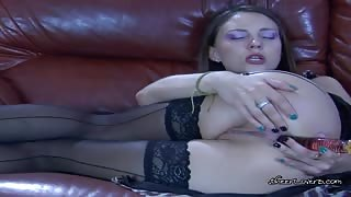 Isabel Makes Her Pussy And Asshole Wet With Her Beautiful Dildo