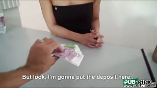 Sexy receptionist shows tits and fucked