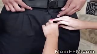 Brunette MILF teaches busty stepdaughter to fuck the police