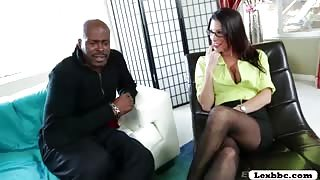 Brunette Dava Foxx gets worshiped Lexington Steele black huge cock