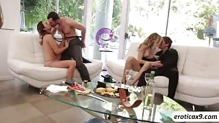 Alexa Grace and Melissa Moores intense foursome with two hunk dudes