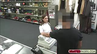 Pawnshop pounding with a very hot Stewardess