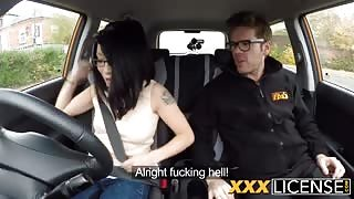 Rina Ellis getting her tight cunt fucked by a driving instructor!