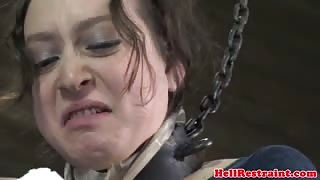 Tied up slave whipped by dominator