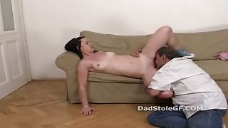 Ilona rides on the big cock of old man