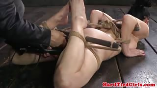 Hair bondage lover gets her pussy toyed