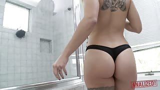 Cameron Canada Showers in Thong Panties