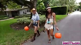 Ladies gets fucked hard on Halloween day insdie a house