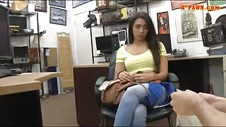 Perky tits babe banged by nasty pawn guy in his office