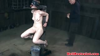 Bondage bdsm sub gets her hair shaved