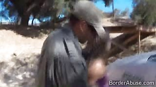 Blondie makes her way across the border sucking a cop
