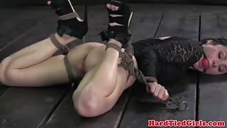 Gagged and restrained sub gets punished