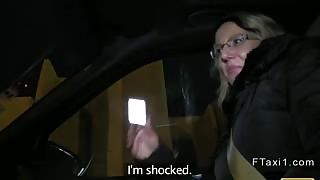 Fake taxi driver fucks blonde in a trunk