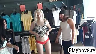 Hot blonde babe drilled by pervert dude in local store