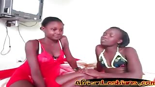 African ebony teen lesbians fuck doggy style strap on