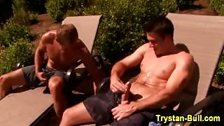 Muscly Trystan Bull gets blown