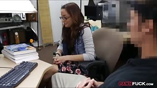 Pretty college babe gets her pussy fucked at the pawnshop
