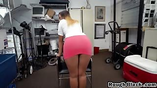 Stunning blonde chick slammed hard by a BBC on the office table