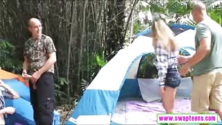 Teenies Alyssa Cole and Haley Reed foursome sex in the camp