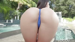 Anal fuck with Kissa Sins in swimsuit