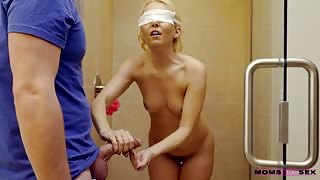 Aaliyah Love naked shower with step son