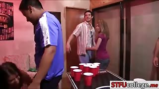 Coeds playing beer pong and had groupsex