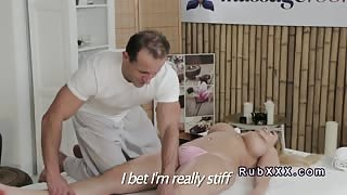 Huge tittied blonde gets tits massage