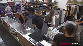 A sexy and hot lady with an amazing ass fucked in the pawnshop