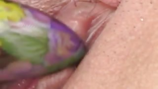 violet dildo in a chinese asshole