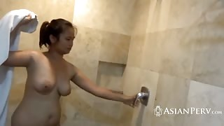 Chubby Asian wife POV fucked after ther shower