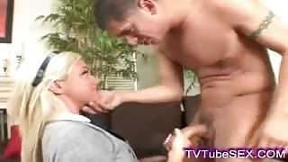 Sexy blonde schoolgirl sucking fat cock