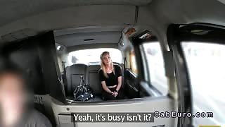 Petite blonde in stockings bangs in a fake taxi