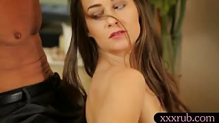 Hot brunette masseuse asshole fucked by her client