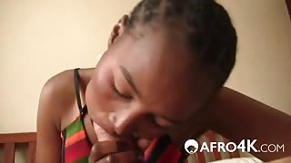 Pretty African Chick Receives Long White Cock