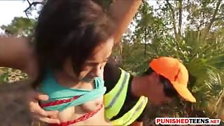 Tight teen babe Adrian Maya fucked by an officer outdoors