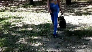 Slim Euro blonde fucks in public park