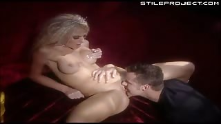Hot blonde stripper gets all of her holes filled and then a facial