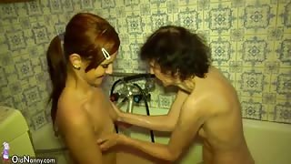 Young lesbian girl bathes and masturbates with old lesbian granny