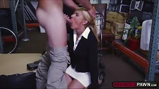 Blonde milf kneels down to sucks a hard cock and she gets fucked