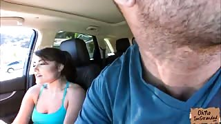 Stranded Adria Rae fucks inside the car of a nice stranger
