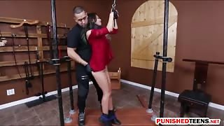 Gina Valentina hanged whipped and fucked by this horny man
