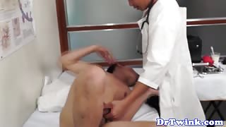 Asian twink patient in bareback action with his doctor