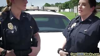 Two cougar cops sharing massive black cock outdoors