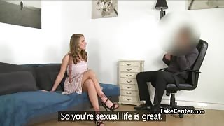 Horny blonde begs for massive cock on casting