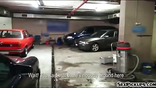 Pretty amateur blonde Czech girl Ellen fucked in the carpark