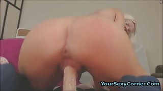 Squirting Big Ass Busty Blonde Cowgirl Enjoys Fucking Dildo